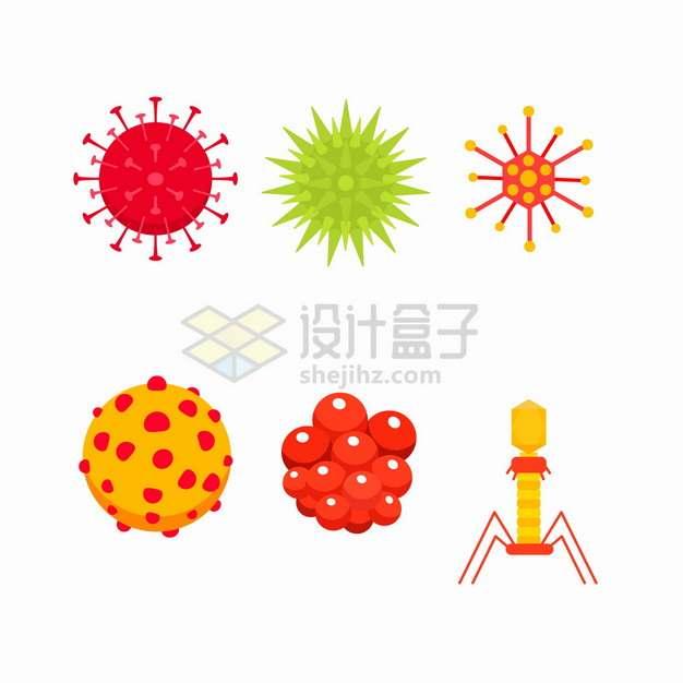 新型冠状病毒癌细胞噬菌体等病毒细菌png图片素材