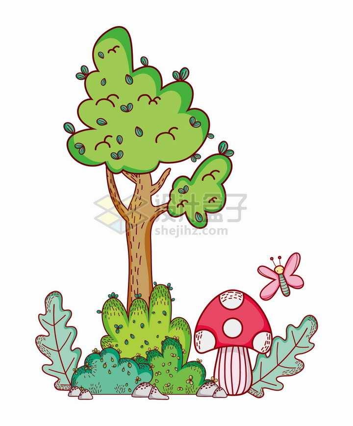 超可爱卡通大树下的灌木丛蘑菇png图片免抠矢量素材