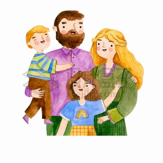 爸爸妈妈儿子女儿幸福的一家四口水彩插画png图片素材