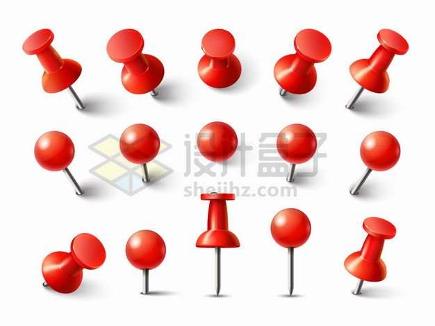 15个角度的红色图钉png图片素材