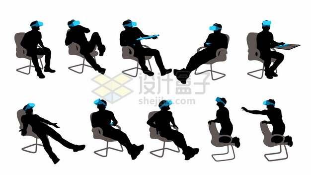 坐在椅子上用VR虚拟现实技术眼镜玩游戏看视频的男人剪影png矢量图片素材