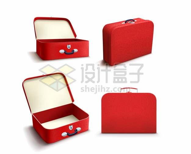 逼真的红色行李箱旅行箱的4个不同角度911679png矢量图片素材