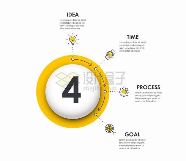 白色圆球线条图标PPT信息图表png图片素材