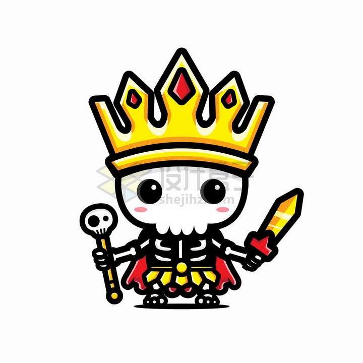 可爱的卡通骷髅国王png图片免抠矢量素材