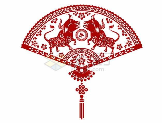 2021年牛年中国风红色剪纸扇形贴花窗花873651png矢量图片素材