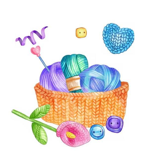 针织花朵和毛线球水彩插画534687png图片素材