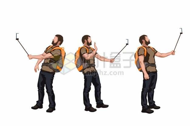 用自拍杆拍照的背包客徒步旅行者329510png矢量图片素材
