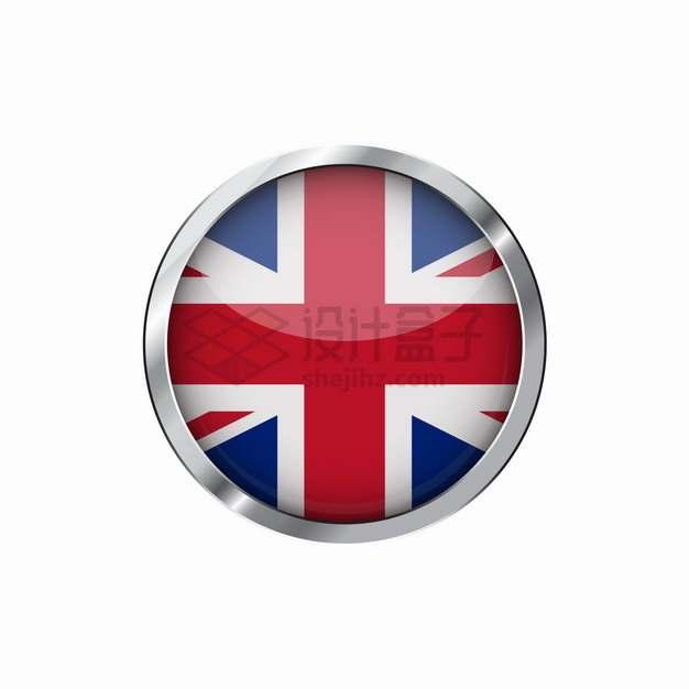 银色金属光泽边框英国国旗米字旗图案圆形按钮png图片素材