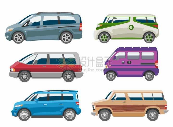 6款卡通面包车小客车侧面图png图片免抠矢量素材
