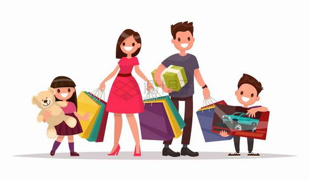 收获满满的一家四口购物扁平插画png图片免抠矢量素材
