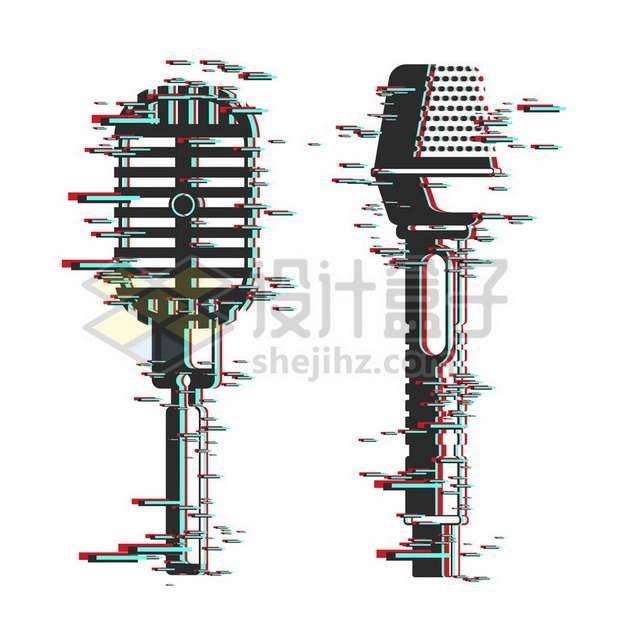 2款抖音故障风的话筒麦克风图案342442png矢量图片素材