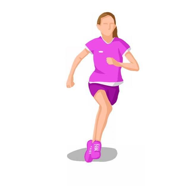 跑步的女孩扁平插画240125png图片素材