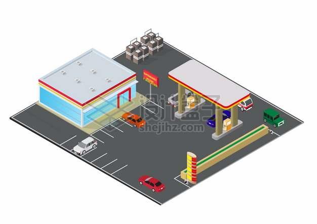 2.5D风格汽车加油站建筑和停车场png图片素材