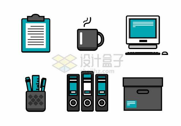 记事本咖啡电脑笔筒文件夹文件箱图标png图片素材801883