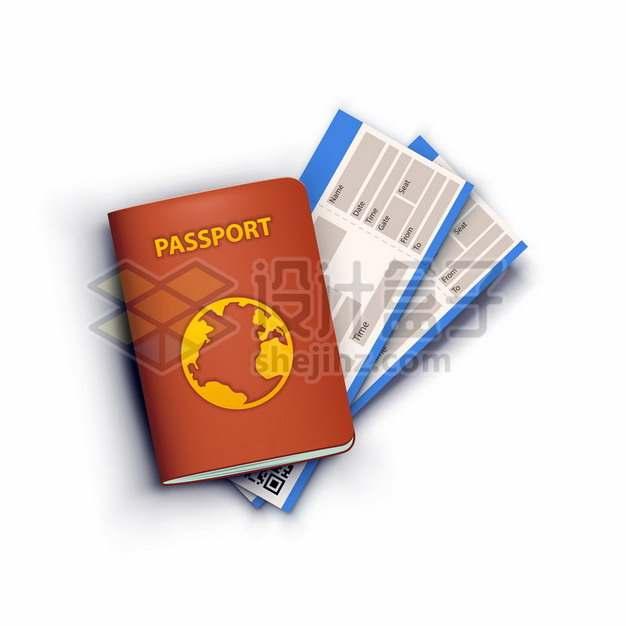 卡通护照和机票434972png图片素材