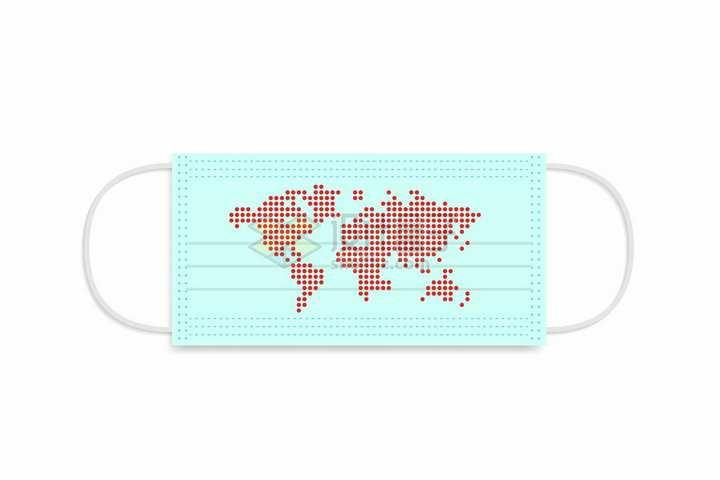 一次性医用口罩上的红色点状世界地图png图片免抠矢量素材