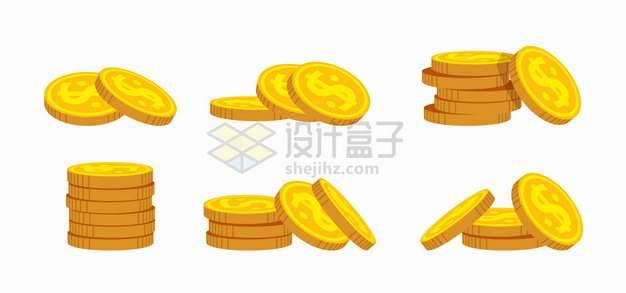 6堆金黄色的金币硬币png图片素材