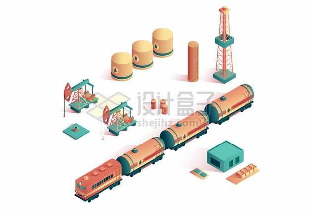 2.5D风格油田石油开采磕头机油罐车火车储油罐插画png图片素材