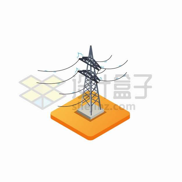 2.5D风格输电塔特高压线png图片素材