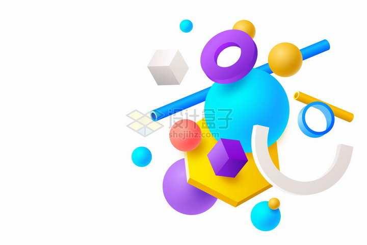 圆环圆球六边形等3D几何形状背景装饰png图片免抠矢量素材