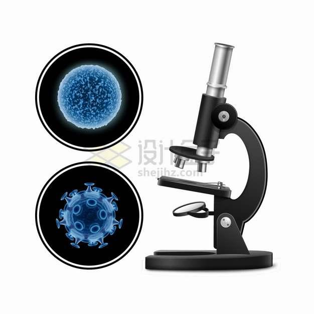 黑色显微镜下的细菌和新型冠状病毒png图片素材