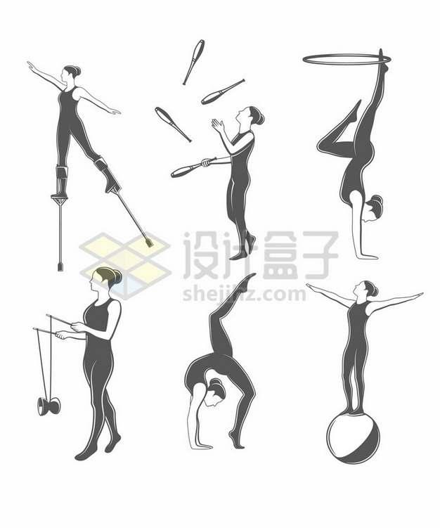 踩高跷呼啦圈抖空竹等杂技表演项目插画png图片素材