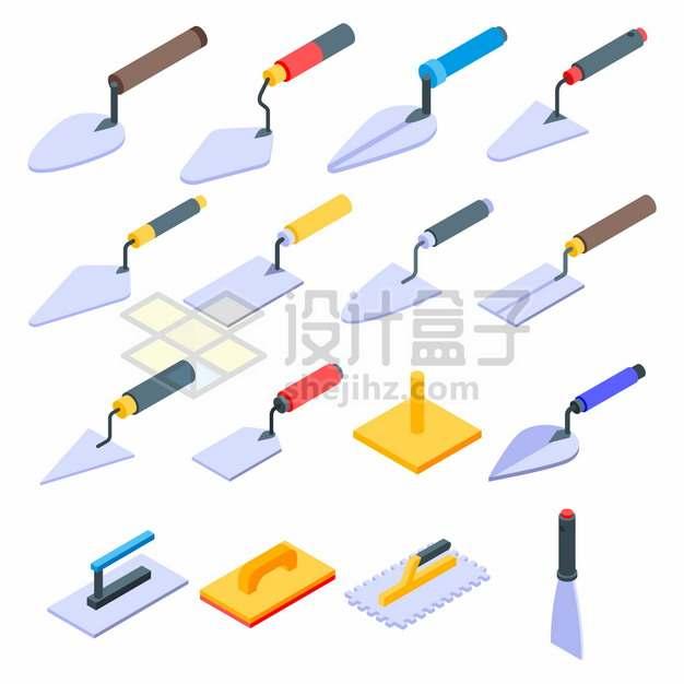 16款抹泥刀铲刀建筑装修工人泥瓦匠工具png图片素材
