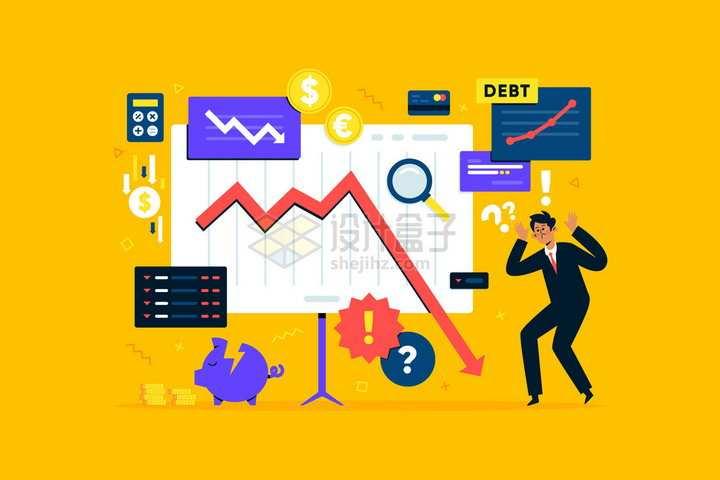 面对各项数据下滑的商务人士经济危机金融危机png图片免抠矢量素材