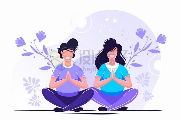 盘腿静坐打坐放空思想冥想的年轻人扁平插画png图片素材