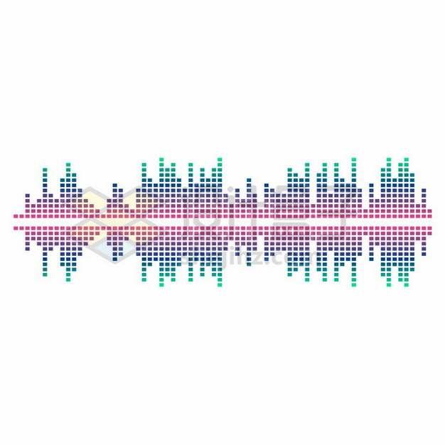 彩色对称方块组成的声波音频图案856885png图片素材