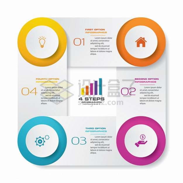 创意圆角方形四角圆形PPT信息图表png图片素材