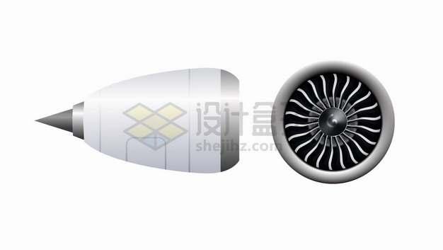 3D涡轮喷气发动机大型客机飞机发动机引擎侧面和正面png图片素材