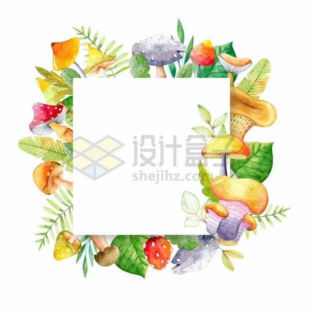 各种蘑菇树叶组成的方框文本框标题框水彩插画png图片素材