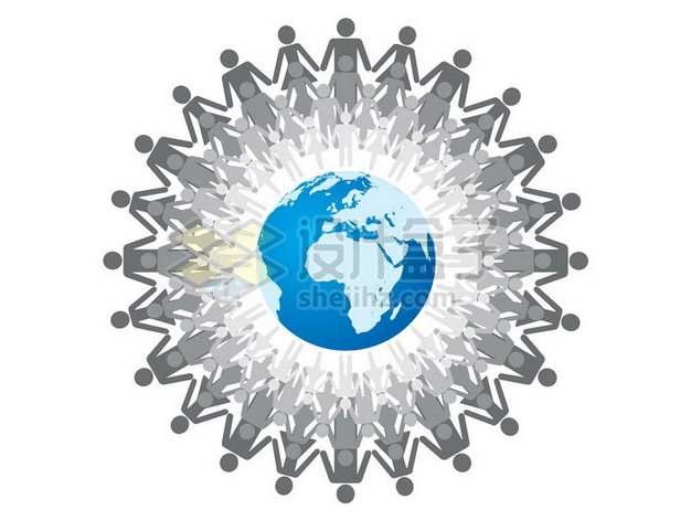蓝色地球和围绕着的小人儿世界人口日587196png图片素材