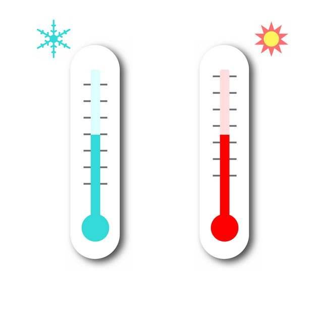 象征高温和低温的温度计扁平插画png图片免抠素材692681