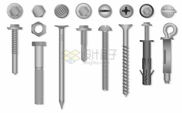 各种银灰色螺丝钉267407png图片素材