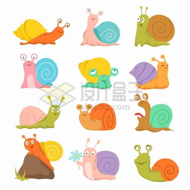 12款卡通蜗牛扁平插画png图片素材