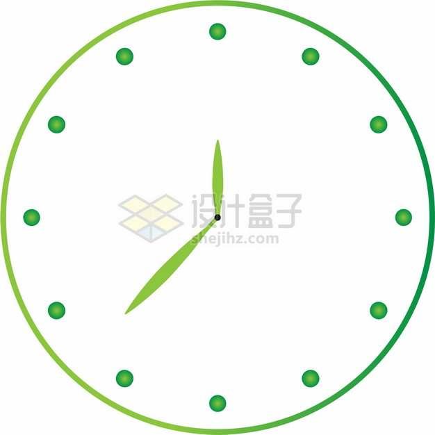 绿色钟表盘面上的时针和分针457695png图片素材