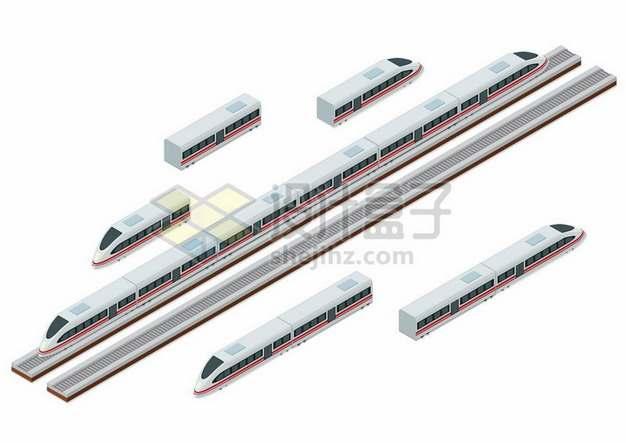 2.5D风格高铁车厢列车和铁轨626685png图片素材