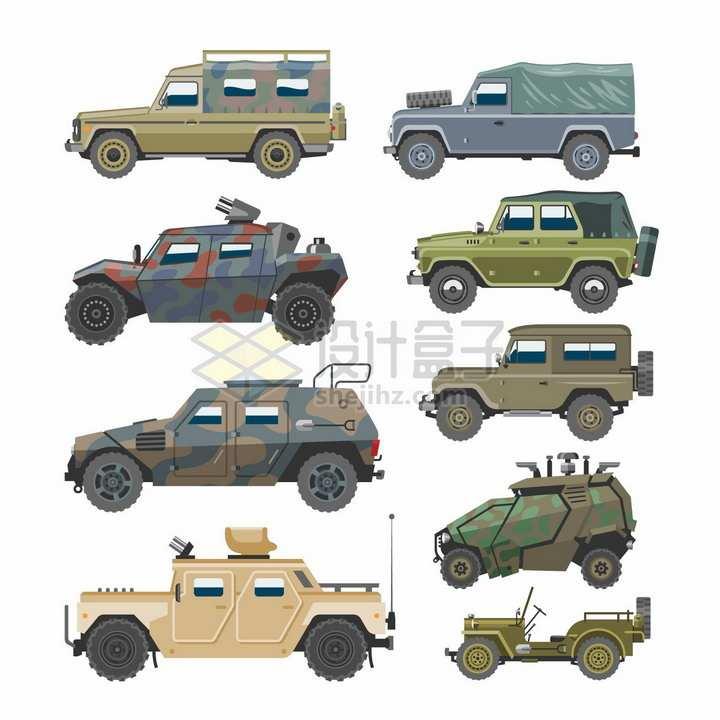 9款军用装甲车吉普车侧面图png图片免抠矢量素材
