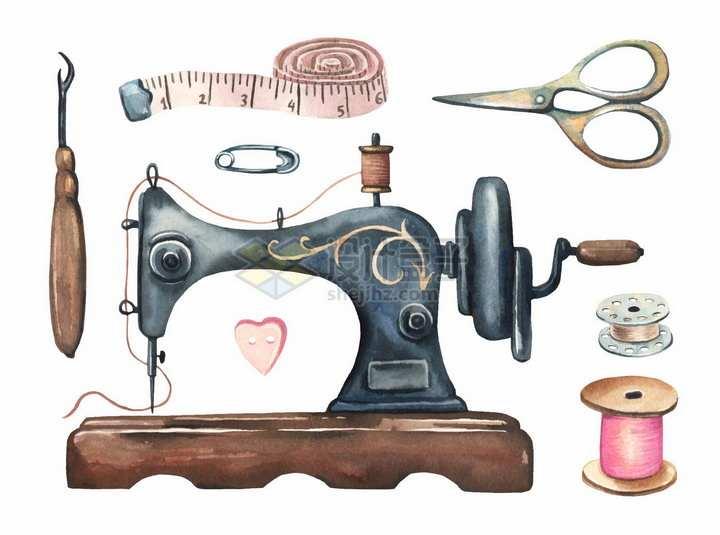 皮尺缝纫机剪刀等水彩画裁缝工具png图片免抠矢量素材