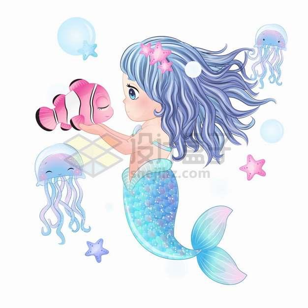 可爱卡通美人鱼和小丑鱼玩耍手绘插画png图片素材