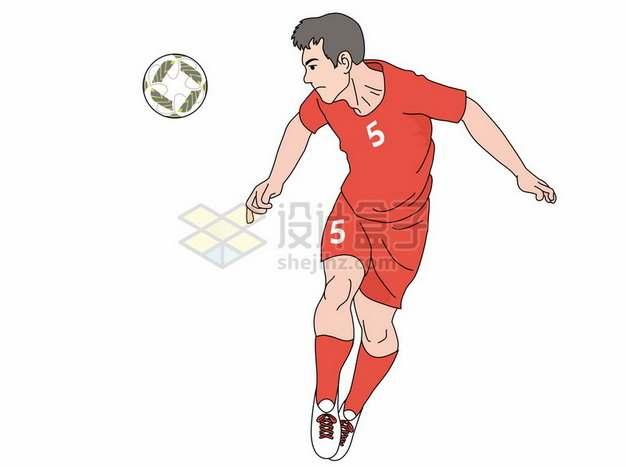 彩绘风格踢足球接球631784png图片素材