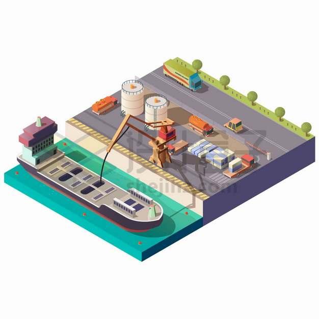 2.5D风格停靠在码头上卸货的油轮石油运输轮船png图片素材