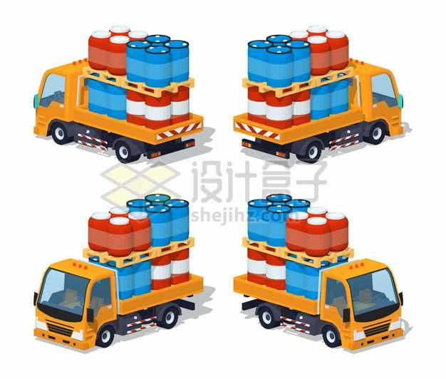 装满红色蓝色塑料化工桶的卡车四视图png图片素材