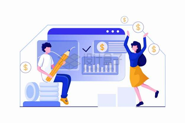 为客户推荐理财项目的营销人员扁平插画png图片素材