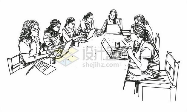 围坐在会议桌前开会的商务人士线条素描插画649711png矢量图片素材 商务职场-第1张