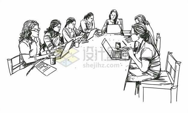 围坐在会议桌前开会的商务人士线条素描插画649711png矢量图片素材