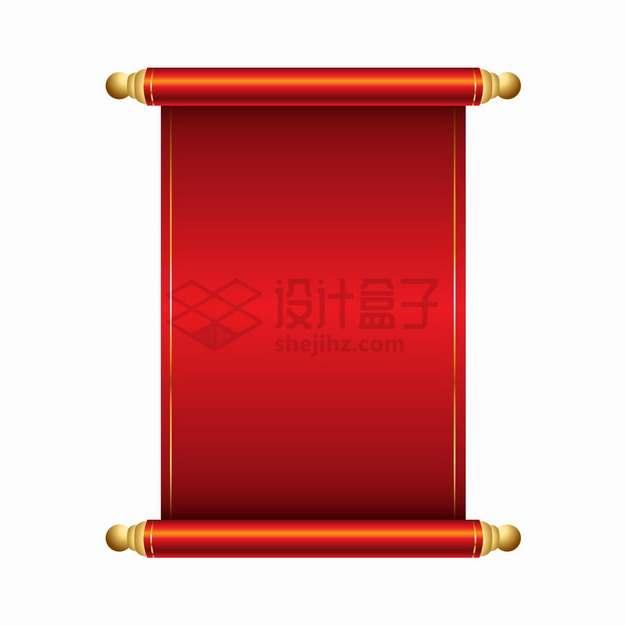 复古风格红色卷轴文本框信息框png图片素材