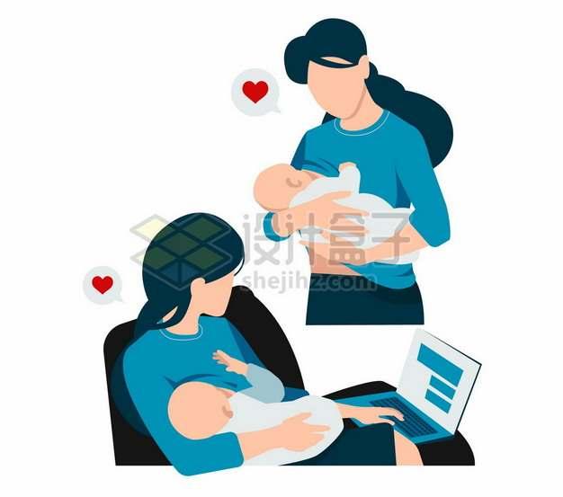 抱着宝宝喂奶和工作的年轻妈妈扁平插画141181png图片素材